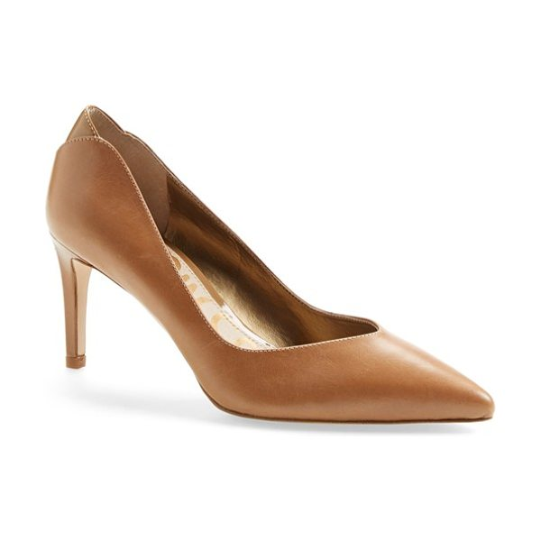 Sam Edelman orella pump in golden caramel - A scalloped heel panel adds subtle textural contrast to...
