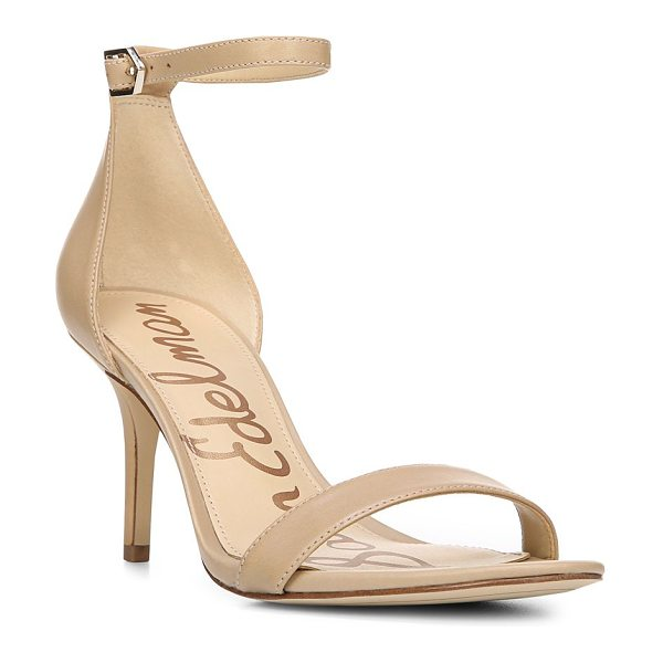 Sam Edelman patti leather sandals in classic nude - Strappy pair with moderate elevation offers enhanced...