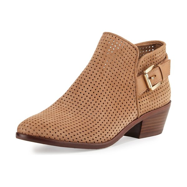 "Sam Edelman Paula Perforated Suede Bootie in beige - Sam Edelman perforated suede bootie. 1.8"" stacked block..."