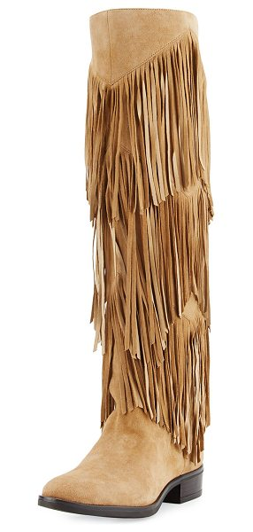 "Sam Edelman Pendra Fringe Knee Boot in oatmeal - Sam Edelman kid suede knee boot. 0.8"" stacked heel;..."
