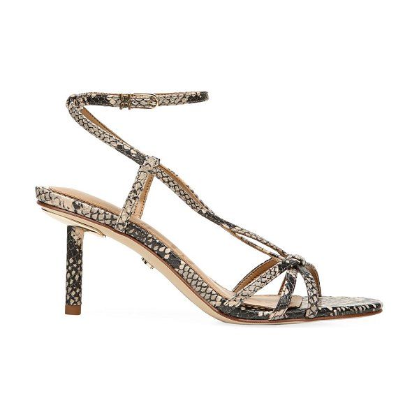 Sam Edelman pippa ankle-wrap snakeskin-embossed leather sandals in neutral