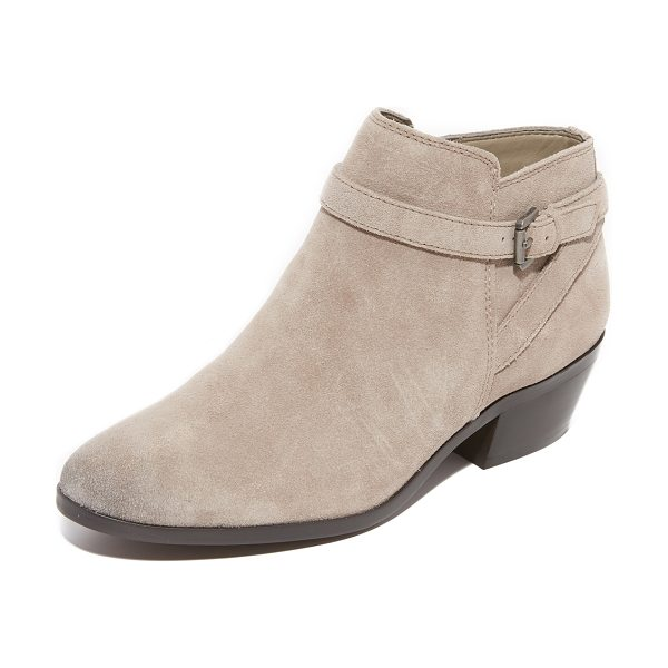 Sam Edelman pirro booties in putty - A wraparound buckle strap accents the faux split shaft...