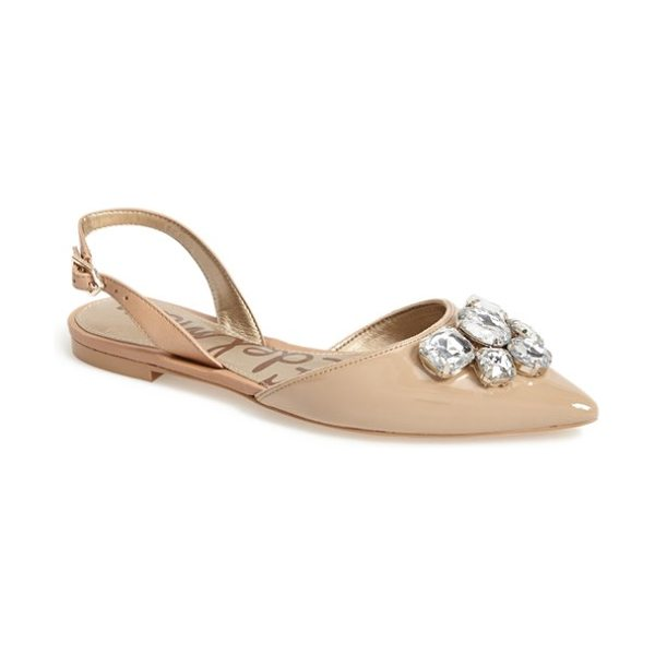 Sam Edelman reece slingback pointy toe flat in classic nude patent - Chunky, oversized crystals light up the pointy toe of a...