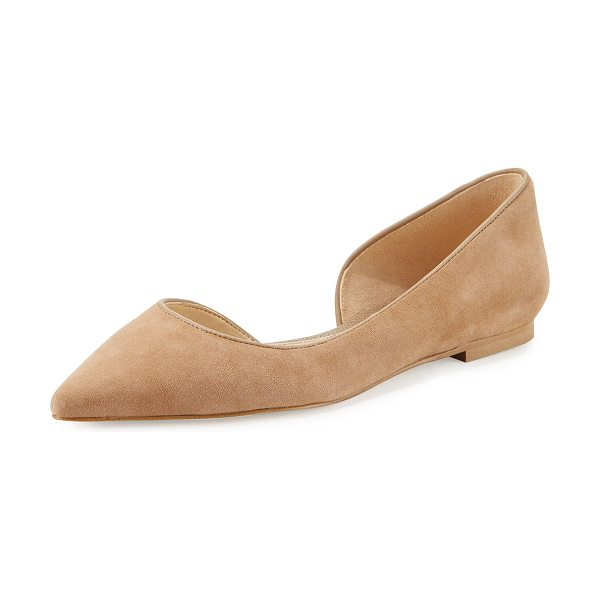 "Sam Edelman Reema d'Orsay Pointed-Toe Flat in oatmeal - Sam Edelman kid suede flat. 0.3"" flat stacked heel...."