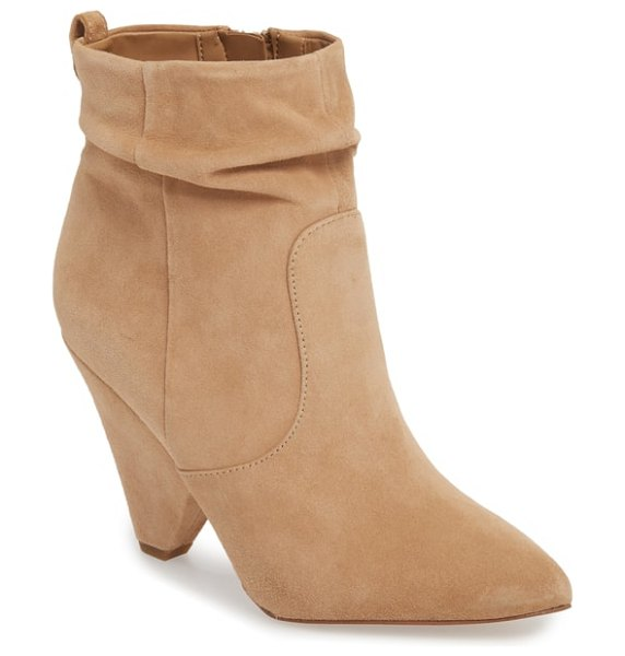 Sam Edelman roden bootie in brown - A cool angled heel stamps a mark of distinction onto a...