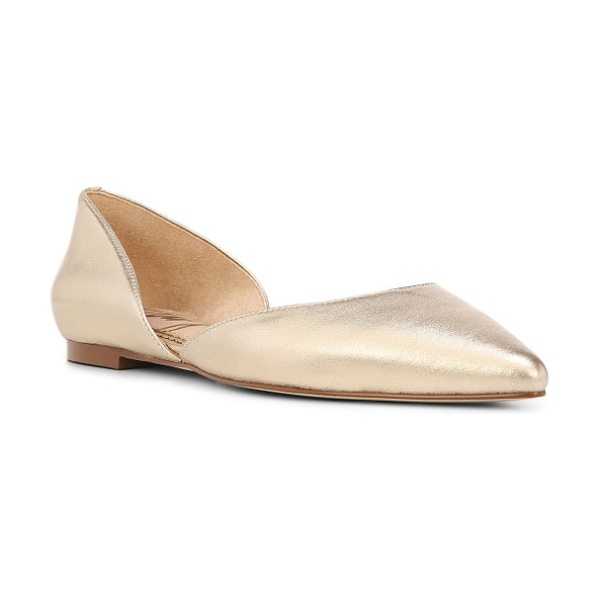 Sam Edelman rodney pointy toe d'orsay flat in molten gold leather - A d'Orsay profile makes this pointy-toe flat an...