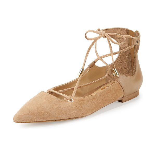 "Sam Edelman Rosie Pointed-Toe Lace-Up Flat in golden caramel - Sam Edelman kid suede flat. 0.3"" flat stacked heel...."