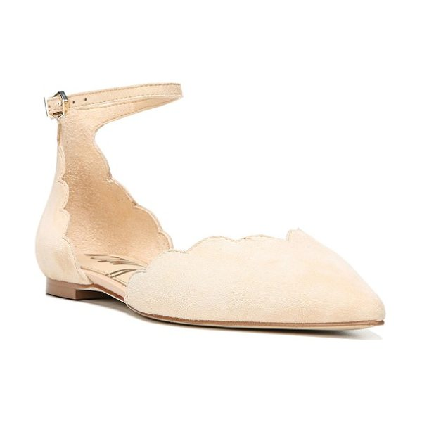 SAM EDELMAN rowan scalloped pointy toe flat in natural naked suede - Scalloped edging softens a smart pointy-toe flat secured...