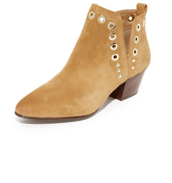Sam Edelman rubin booties in golden caramel - Polished grommets and studs trim the split shaft on...