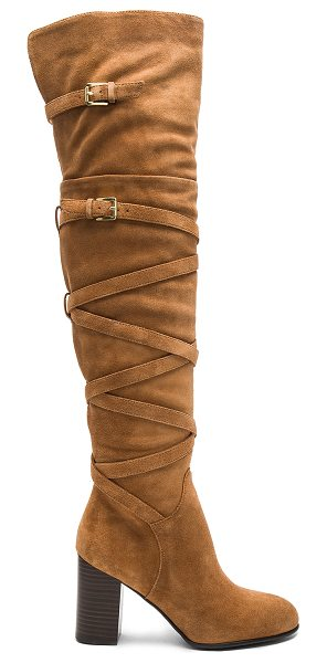 Sam Edelman Sable Boot in camel suede - Suede upper with man made sole. Side zip closure. Wrap...