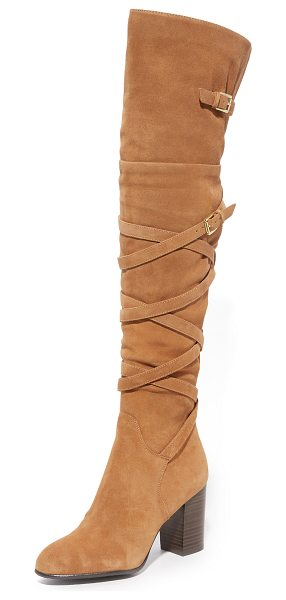 Sam Edelman sable over the knee boots in golden caramel - Fixed buckle straps crisscross these suede Sam Edelman...