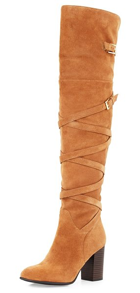 Sam Edelman Sable Strappy Suede Over-the-Knee Boot in golden caramel