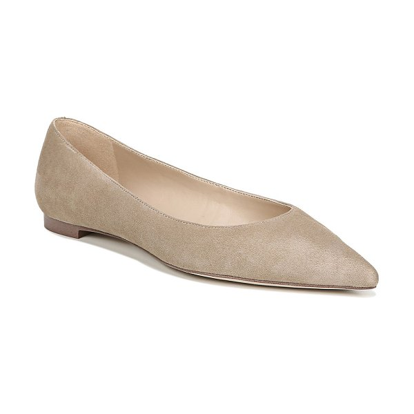 Sam Edelman Sally Pointed-Toe Suede Flats in oatmeal