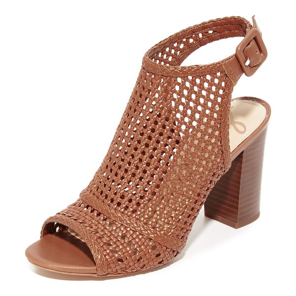 SAM EDELMAN evie woven peep toe booties in shire brown - Woven faux-leather Sam Edelman open-toe booties with a...