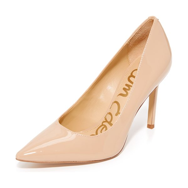 Sam Edelman hazel pumps in nude linen - Pointed-toe Sam Edelman pumps in glossy faux leather....