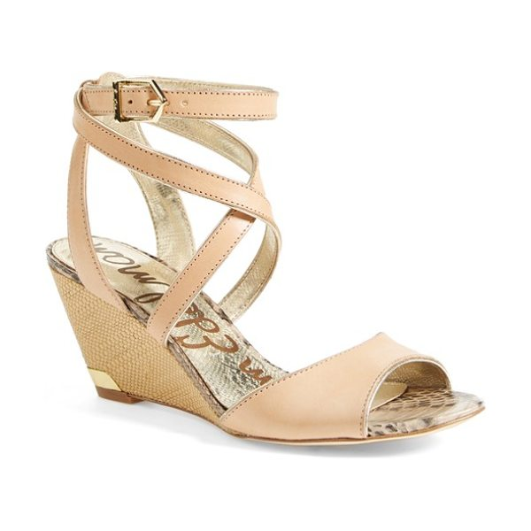 Sam Edelman samara wedge sandal in natural naked - Wraparound straps further the sunny-day appeal of a...
