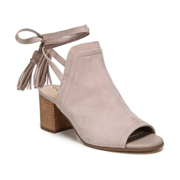 Sam Edelman sampson block heel bootie in taupe rose leather - Clean lines highlight the timeless appeal of a peep-toe...
