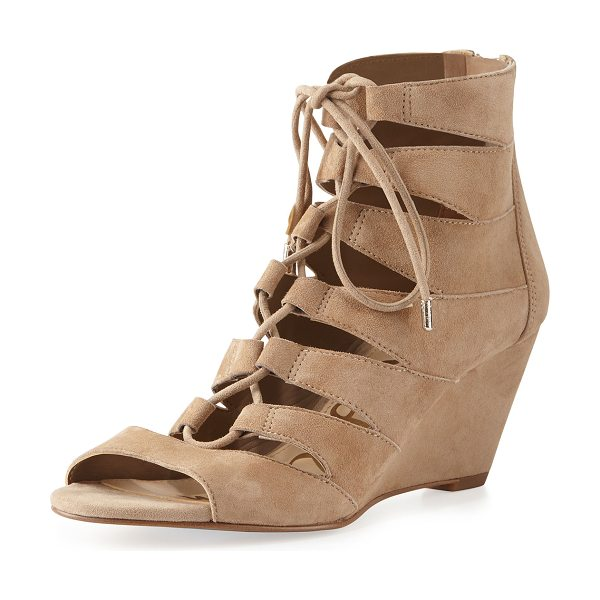 "Sam Edelman Santina Lace-Up Wedge Sandal in oatmeal - Sam Edelman kid suede sandal. 2.4"" covered wedge heel...."