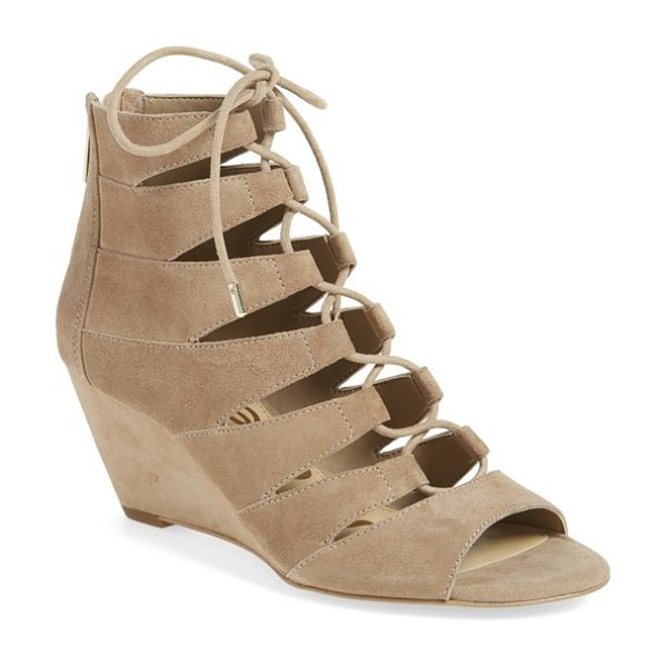 Sam Edelman santina lace-up wedge sandal in oatmeal suede - Crisscrossed laces bridge the open top of a breezy...