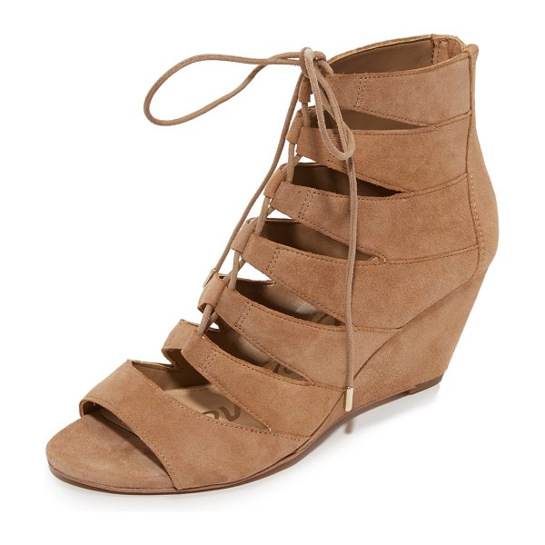 Sam Edelman Santina wedge sandals in oatmeal - Panels of smooth suede lend a cage effect to these Sam...
