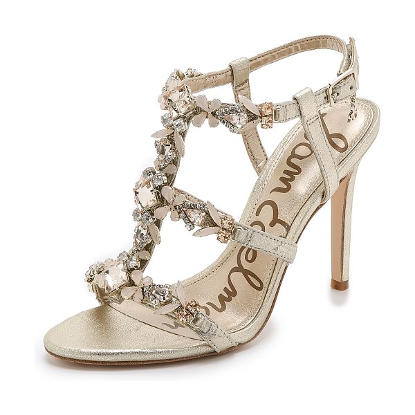 Sam Edelman Selena jeweled sandals in jute - Metallic leather and jeweled straps give these Sam...