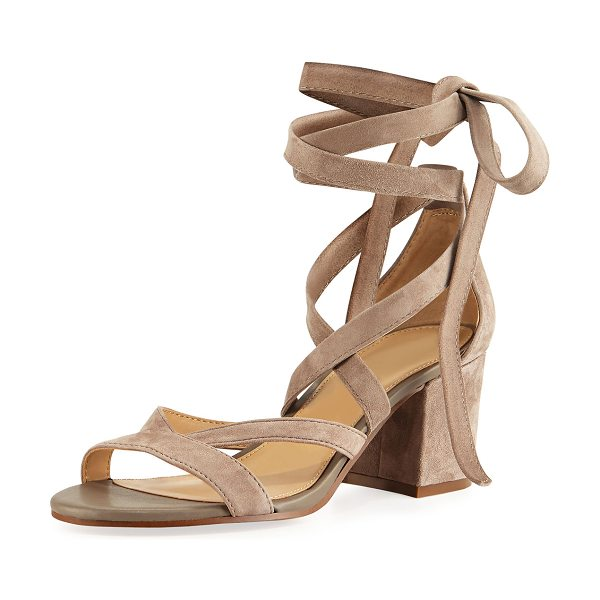 Sam Edelman Sheri Suede Ankle-Wrap Sandal in putty - Sam Edelman suede sandal. Covered block heel. Strap...