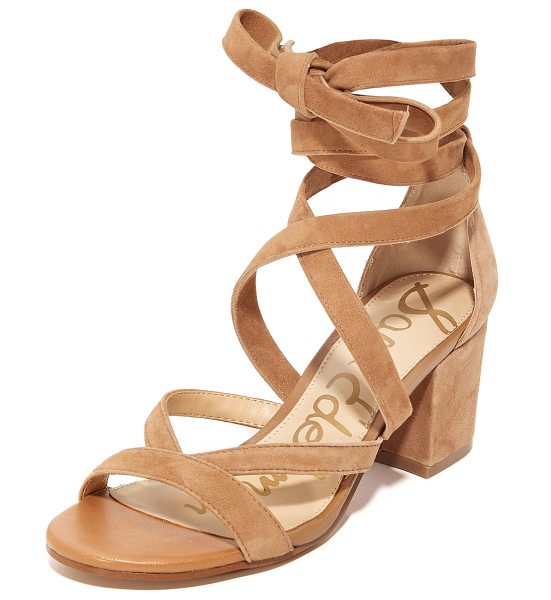 Sam Edelman sheri suede city sandals in golden caramel - Slim crisscross straps lace-up these soft suede Sam...