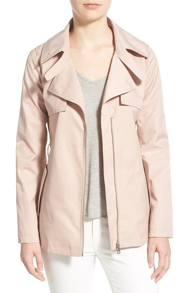 SAM EDELMAN short zip front trench coat - Classic trench styling takes on a fresh look in a...