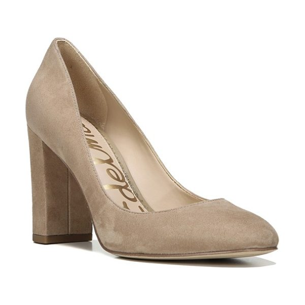Sam Edelman stillson pump in beige - A low-slung topline and chunky heel lend an...