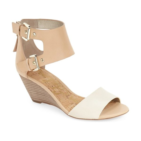 SAM EDELMAN susanna wedge sandal - Two-tone leather straps add modern sophistication and...