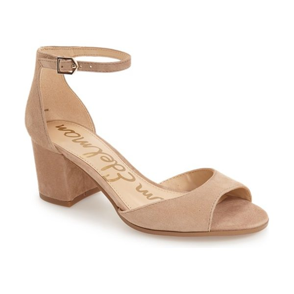 Sam Edelman susie d'orsay ankle strap sandal in oatmeal suede - A low d'Orsay profile is balanced by a slender ankle...