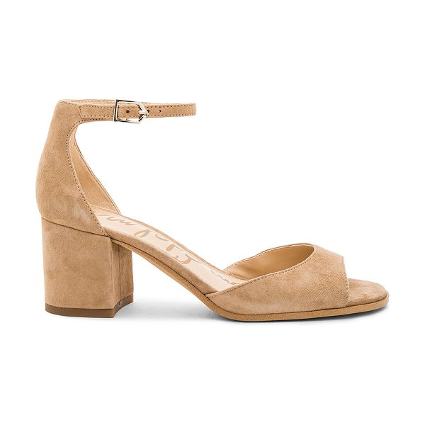 Sam Edelman Susie Heel in oatmeal - Suede upper with man made sole. Ankle strap with buckle...