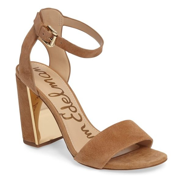 Sam Edelman synthia sandal in golden caramel suede - A gleaming plate at the interior heel adds modern kick...