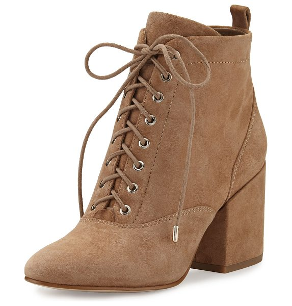 "Sam Edelman Tate Suede Chunky-Heel Bootie in oatmeal - Sam Edelman kid suede bootie. 2.8"" covered block heel...."