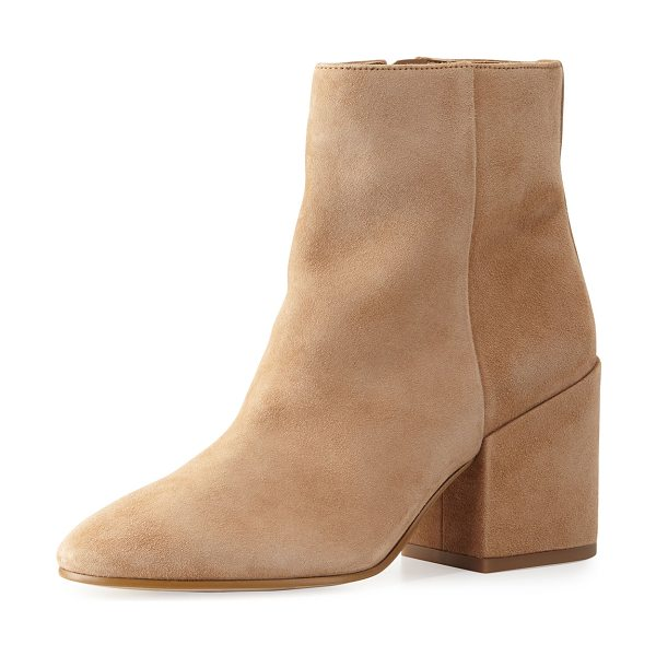 "Sam Edelman Taye Suede Chunky-Heel Bootie in golden caramel - Sam Edelman kid suede bootie. 3"" covered block heel;..."