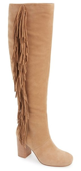 Sam Edelman taylan over the knee fringe boot in golden caramel - A stacked heel and dramatic fringe trim heighten the...