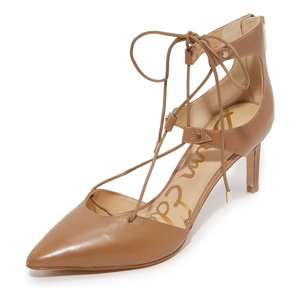SAM EDELMAN Taylor pumps in golden caramel - Pointed toe Sam Edelman pumps with petite studs at the...