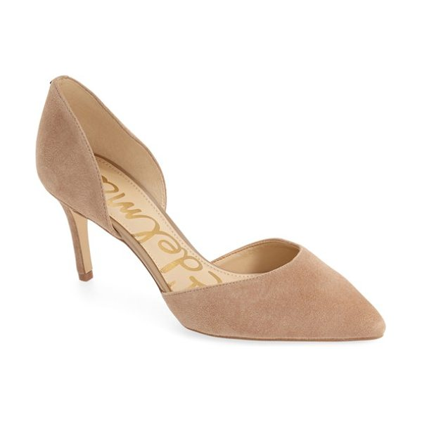 Sam Edelman 'telsa' d'orsay pointy toe pump in oatmeal suede - This essential pump is crafted in a trend-right d'Orsay...
