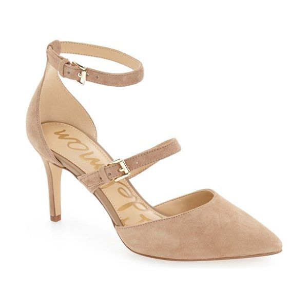 Sam Edelman 'thea' strappy pump in oatmeal suede - Simple and chic, this pointy-toe pump in lush suede gets...