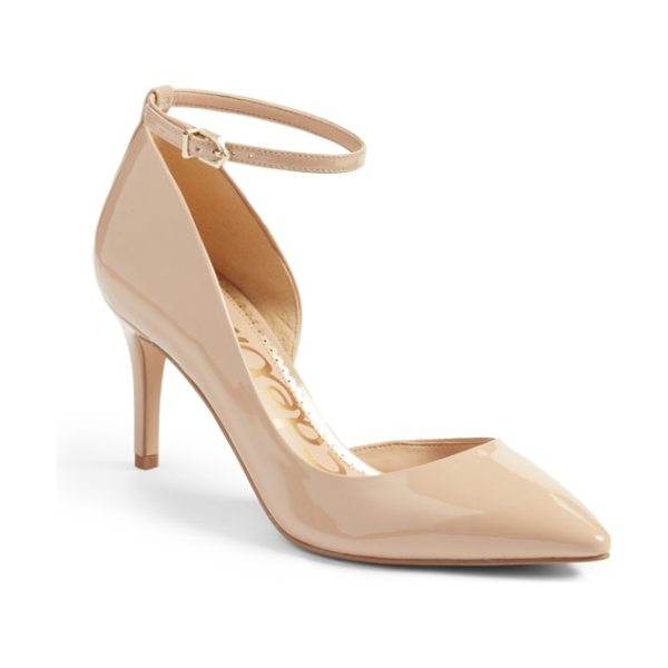 Sam Edelman tia ankle strap pump in nude linen patent - A slim tapered heel and a half d'Orsay topline heighten...