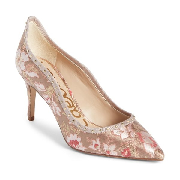 Sam Edelman tiana pump in dusty rose jacquard fabric - This pointy-toe pump goes beyond basic with a wavy...