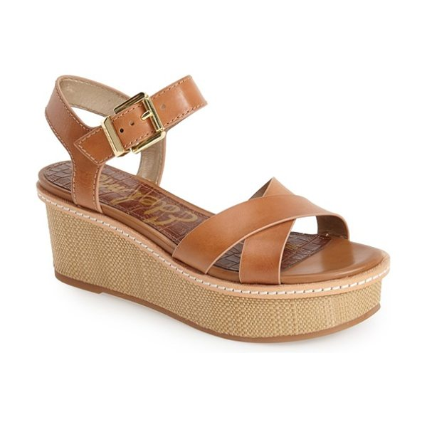 Sam Edelman tina wedge sandal in natural naked - Get in on the season's basket-weave trend with Sam...