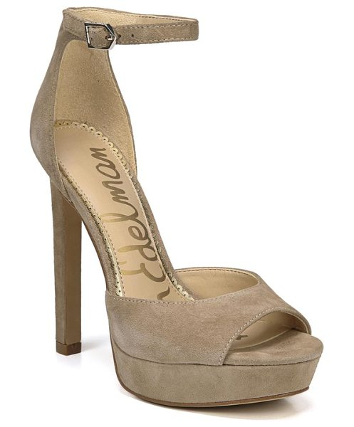 Sam Edelman wallace platform sandal in oatmeal suede - A sky-high heel and bold platform heighten the retro...