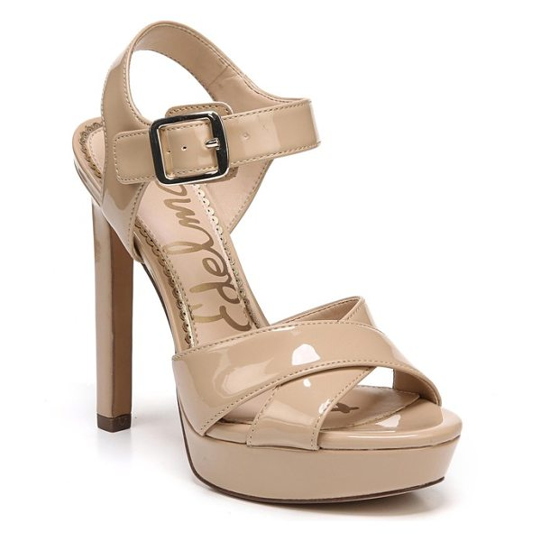 Sam Edelman willa platform sandal in nude patent leather - A sky-high heel lifts a striking platform sandal that's...