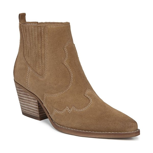Sam Edelman winona suede booties in beige - Classic western style boots finished in smooth suede are...