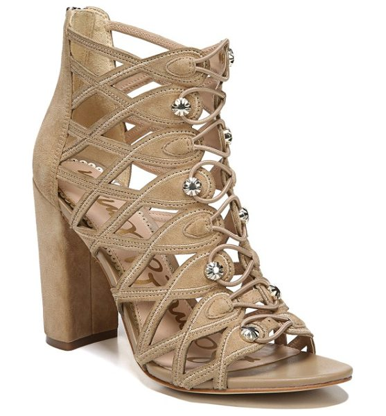 Sam Edelman yeager bootie cage sandal in oatmeal suede - Diamond cutouts, scalloped edging and gleaming faceted...
