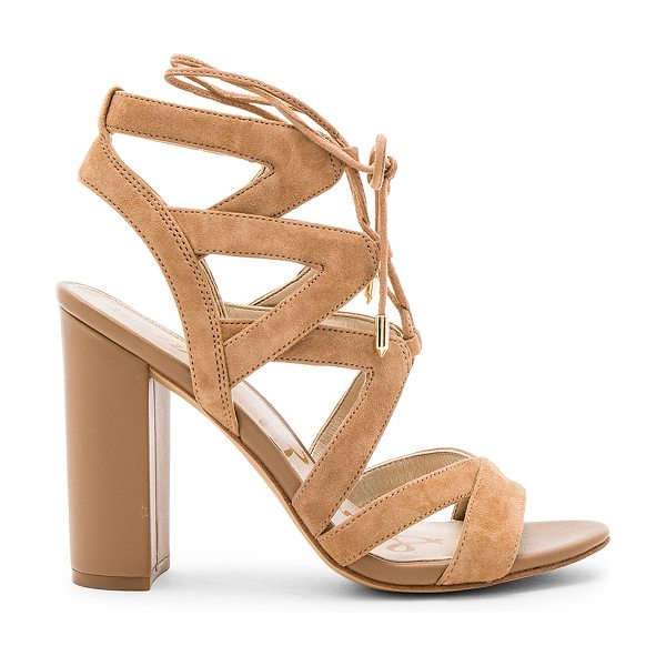 Sam Edelman Yardley Heel in tan - Suede upper with man made sole. Lace-up front with wrap...