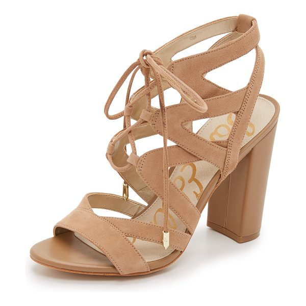 SAM EDELMAN yardley lace up sandals in golden caramel - Soft suede composes these sophisticated Sam Edelman...
