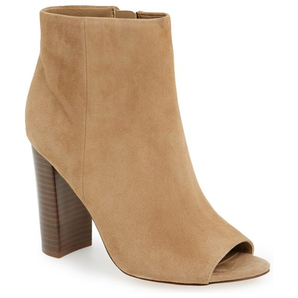 Sam Edelman 'yarin' open toe bootie in oatmeal suede - A minimalist bootie crafted of buttery suede features a...