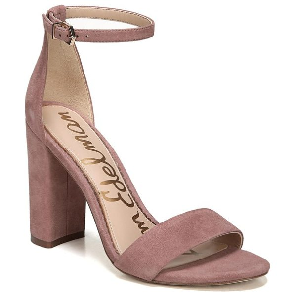 Sam Edelman yaro ankle strap sandal in dusty rose suede - Modern and minimalist, an essential ankle-strap sandal...